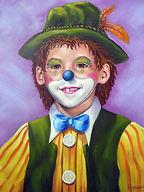 Petit clown Mathieu - Peinture à l'huile