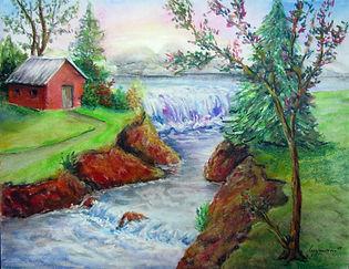 Au bord de la rivière - Pastels secs