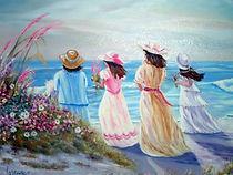 Une mère et ses trois filles - Peinture à l'huile