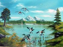 Le lac aux malards - Peinture à l'huile