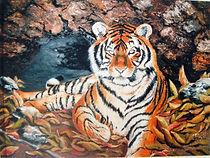Le tigre dans sa tanière - Peinture à l'huile