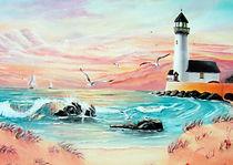 Coucher de soleil sur l'océan - Peinture à l'huile