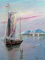 Amarré dans le Golfe Juan - Peinture à l'huile