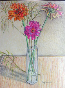 Les Gerbéras - Dessin aux crayons à colorier