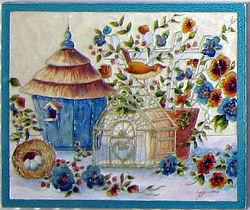 Gazouillis - Cernes relief et peinture vitrail