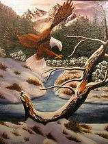 La vallée de l'aigle - Peinture à l'huile