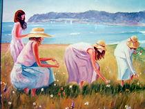 Cueillette de fleurs sauvages - Peinture à l'huile