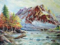 Au pied de la montagne - Peinture à l'huile