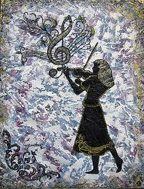 Concerto pour un violon - Silhouette en technique mixte