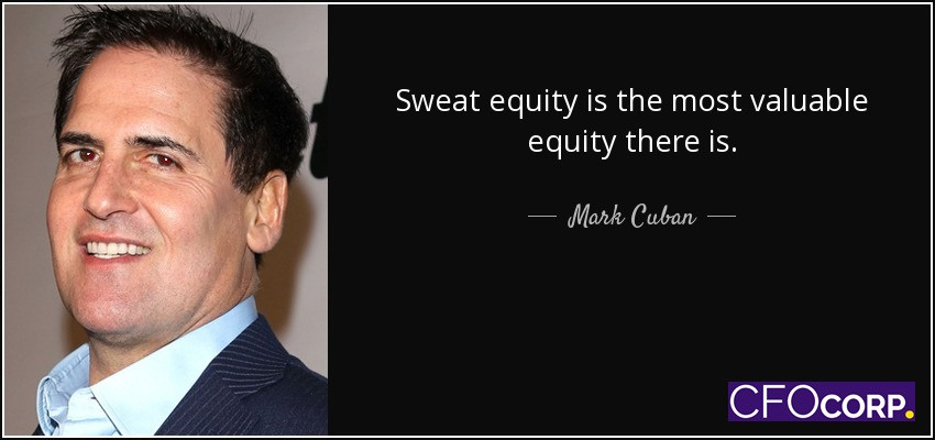 Equity co-investment, sweat equity, Mark Cuban, CFO CORP, cash free