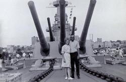 6.1 1966 August Derl & Marilyn on the USS North Carolina.jpg
