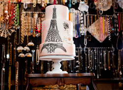 Hand-Painted Paris Theme Cake