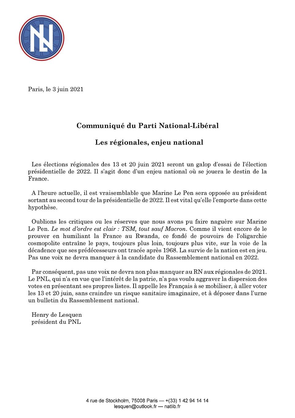 Régionales 2021-06-13 et 20 communiqué.p