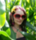 Girl in foliage, girl in leaves, red sunglasses,sunflower in hair