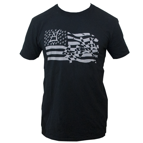 Frelo USA flag shirt 100% ringspun cotton black with grey special printing process makes the art feel very soft