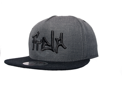 Front Dark Grey and Black 5 Panel Snap Back Hat bmx life