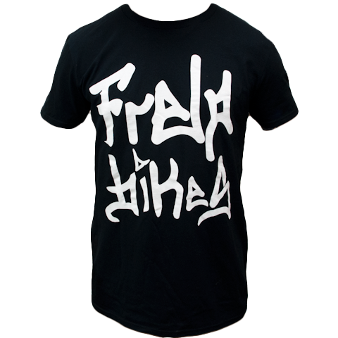 Frelo Bikes T-shirt shirt 100% ringspun cotton black with white special printing process makes the art feel very soft