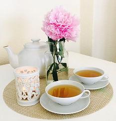 Teetassen, Teekanne, Blume, Kerze