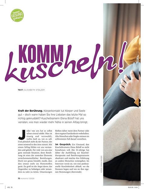 Artikel Kuscheln in Graz Zeitschrift Moments