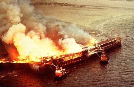 Image of Southend Pier on fire 1976