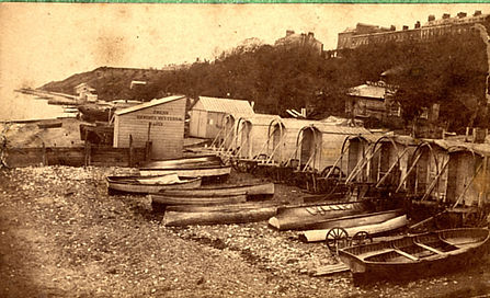 Bathing machines on Southend-on-Sea beach front early 19th Century