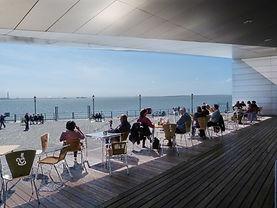 The terrace of the Salt Cafe