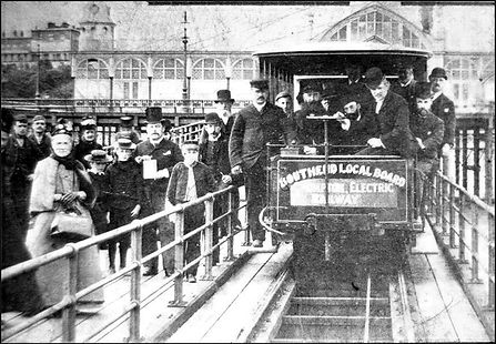 Historic 19th century image of Southend Pier train