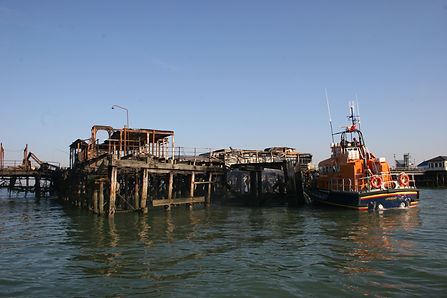 Damaged Southend Pier from fire in 2005