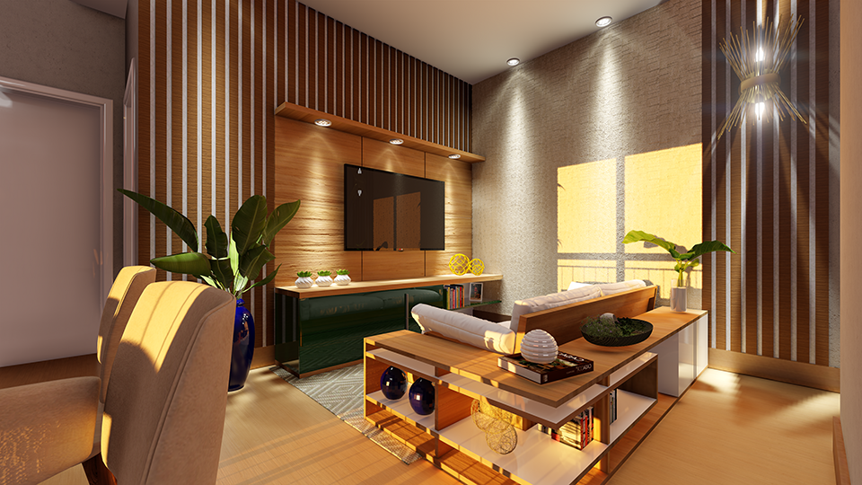 Salas de estar e jantar integradas