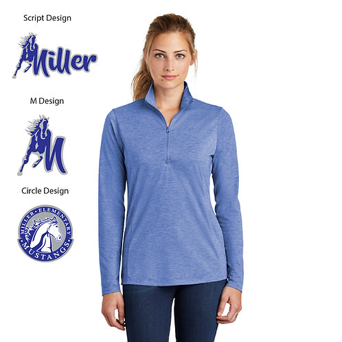 Embroidered Miller LST407 Ladies Wicking 1/4-Zip Pullover