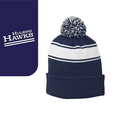 Hulsing STC28 Embroidered Stripe Pom Pom Beanie
