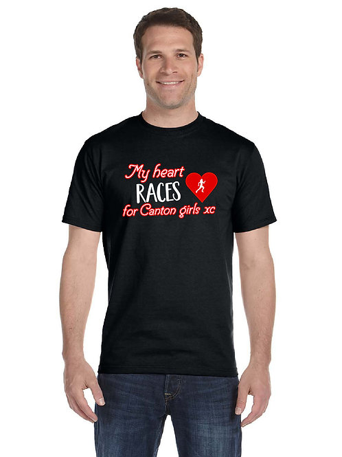 """Canton Girl's Cross Country """"My Heart Races"""" G800 Adult T-Shirt"""