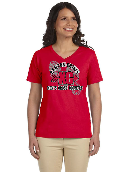 Canton Cross Country 3587 Ladies' V-Neck T-Shirt