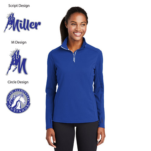 Embroidered Miller LST860 Ladies Textured 1/4-Zip Pullover