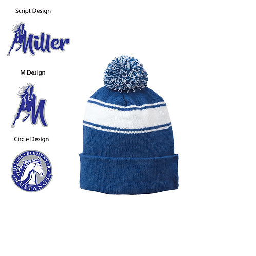 Embroidered Miller STC28 Stripe Pom Pom Beanie