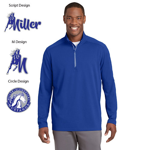 Embroidered Miller ST860 Textured 1/4-Zip Pullover