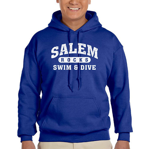 "Salem Girl's Swim & Dive ""Distressed Logo"" Printed G185 Adult Hoodie"