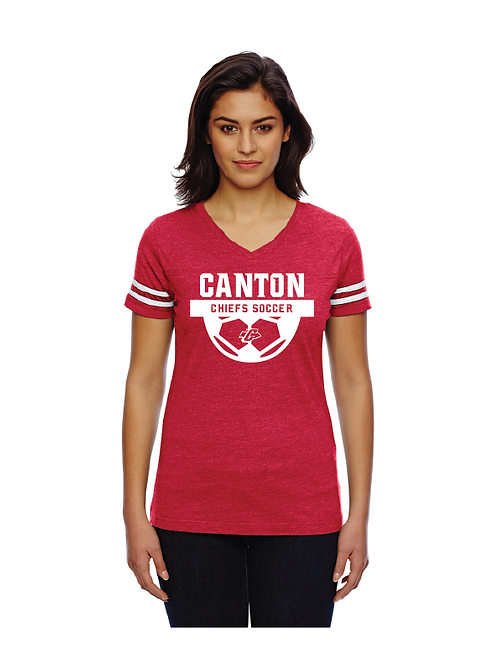 Canton Girl's Soccer 3537 LAT Ladies Football Fine Jersey T-Shirt