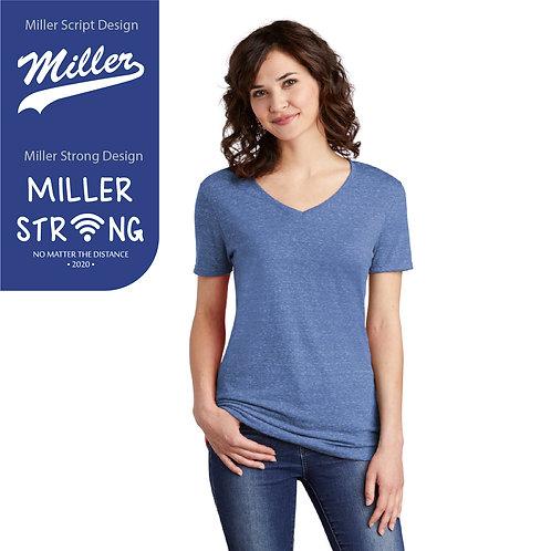 Printed Miller 88WV Ladies Snow Heather V-Neck