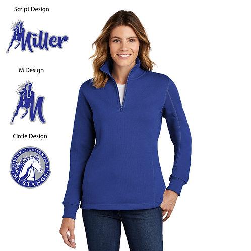 Embroidered Miller LST253 Ladies 1/4-Zip Sweatshirt