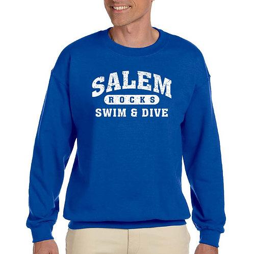 "Salem Girl's Swim & Dive ""Distressed Logo"" Printed G185 Adult Crewneck"