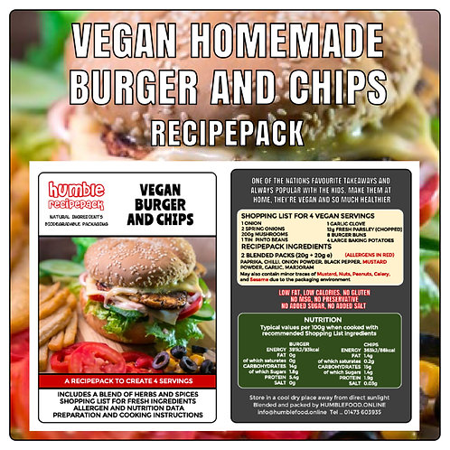 VEGAN HOMEMADE BURGER AND CHIPS - RecipePack