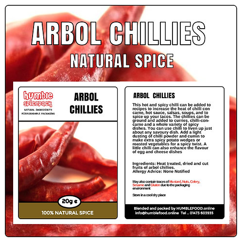 ARBOL CHILLIES - 20g