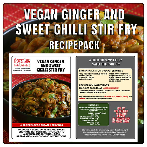 VEGAN GINGER AND SWEET CHILLI STIR FRY - RecipePack