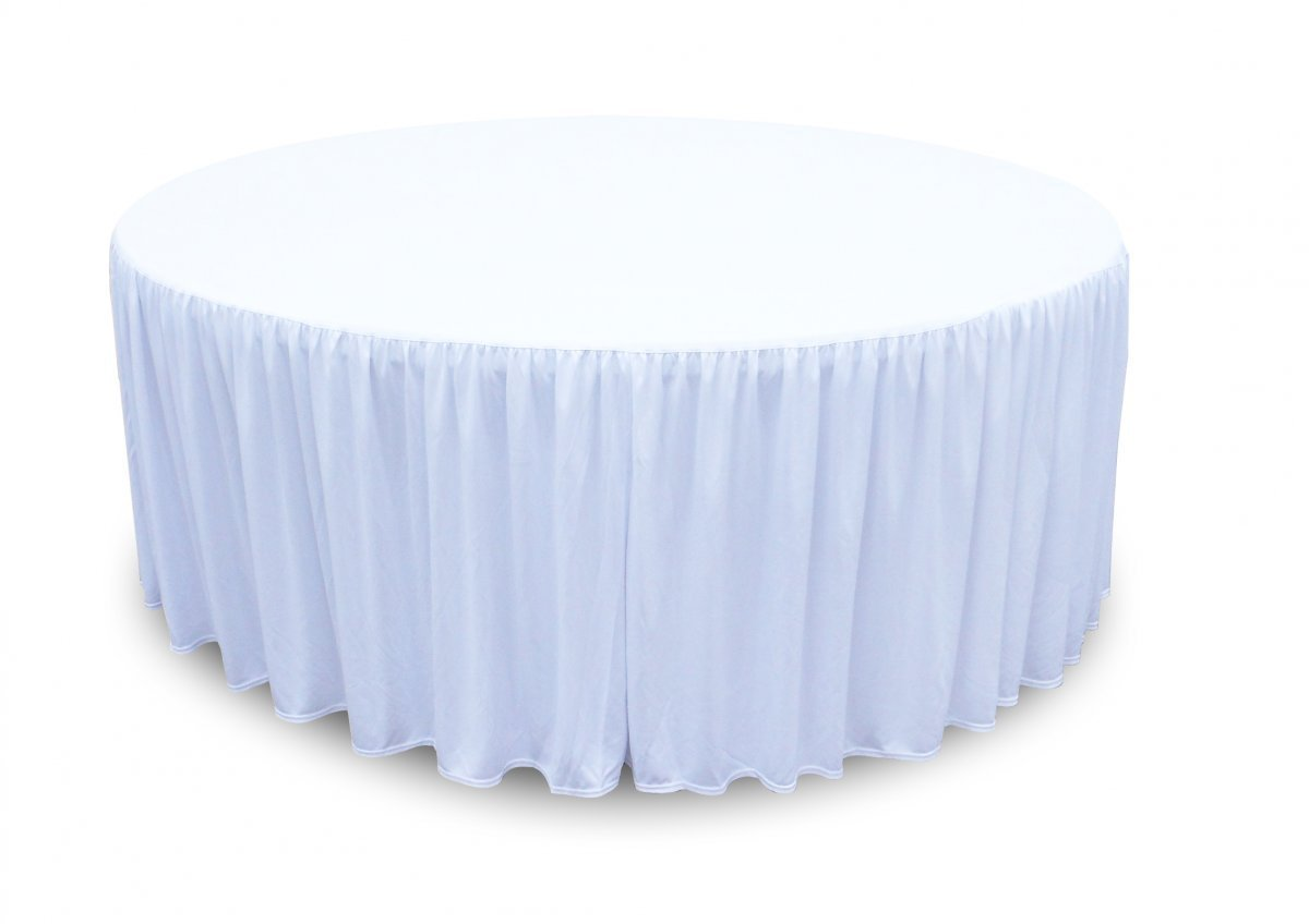 Nappe polyester satinee blanche Ø152cm