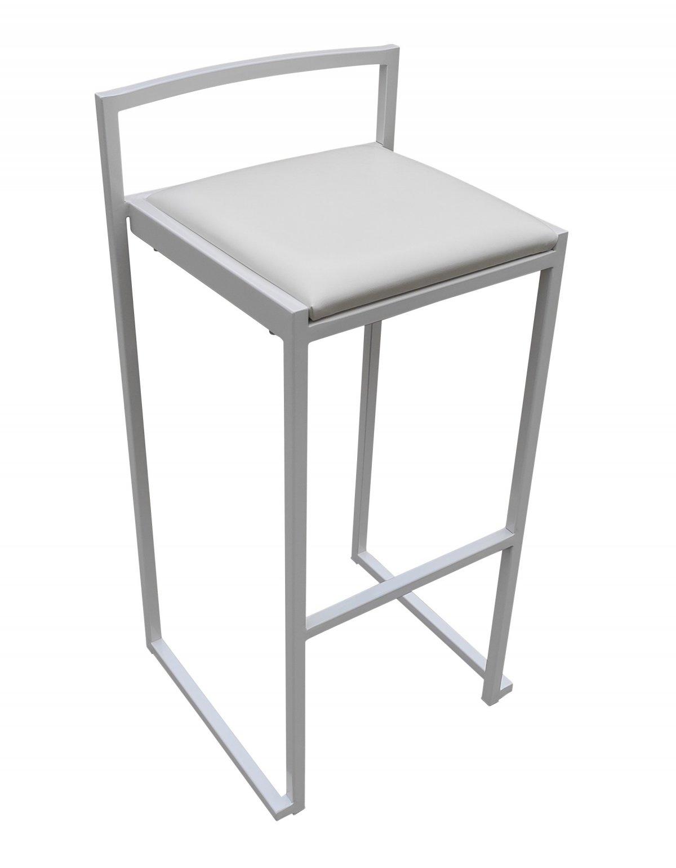 tabouret de bar blanc assise vinyle blan