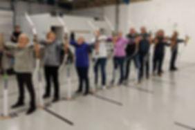 members demonstrating their archery skills-Northampton