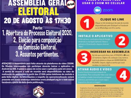 Sindspef convoca para Assembleia Geral Eleitoral