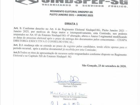 Atenção! Comissão publica Errata em Regimento Eleitoral