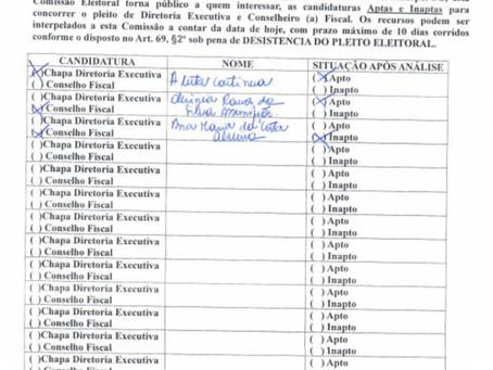 Sindspef Eleições Diretoria: Listagem de candidaturas aptas e não aptas